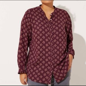 Burgandy maroon floral button down top